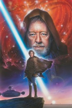 Star Wars: A Destiny Unfolds - Obi Wan Kenobi and Luke Skywalker by John Alvin ; Star Wars Jedi, Star Wars Art, Star Trek, Sith, Film Sf, Starwars, Images Star Wars, Alec Guinness, Star Wars Poster