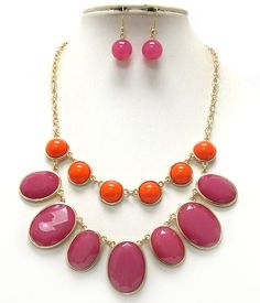 Oval and round stones double layer necklace.  $30.00