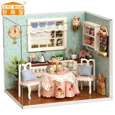 Free Shipping DIY  Doll House Miniature Wooden Dollhouse Manual assembled model Birthday gift Dollhouse Toy - Happy Kitchen