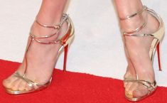 "Amanda Seyfried in Strappy Gold Christian Louboutin ""Benedetta"" Heels"