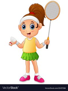 Cartoon girl playing badminton vector image on VectorStock Kids Vector, Free Vector Images, Vector Free, Sports Day Certificates, Fast Growing Trees, Badminton Racket, School Posters, Teachers' Day, School Decorations