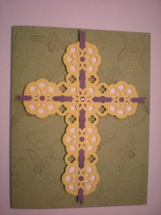 Easter Card with Cross out of Lace Ribbon Border Punch [what a clever design - although the colours don't appeal to me. ;) Mo]