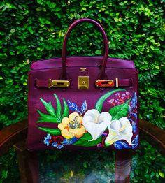 ca9025a6448f Hand painted Hermes birkin by artist love Marie aka heart evangelista 35 cm  purple bag is