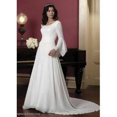 WEDDING GOWN Modest Victoria Scoop Neckline Long Sleeves Chapel Train Wedding Dresses