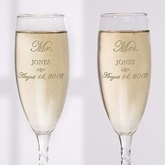 Mr And Mrs Collection Personalized Champagne Flute Set Wedding Toasting GlassesWedding