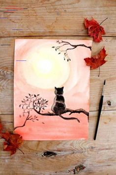 How to Paint Black Cat with Watercolor - Painting - Katzen Tree Watercolor Painting, Watercolor Feather, Yellow Painting, Easy Watercolor, Watercolour Tutorials, Watercolor Techniques, Watercolor Flowers, Painting Abstract, Figure Painting