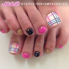 Cute Burberry inspired toe nail art idea for your next pedicure Toenail Art Designs, Pedicure Designs, Pedicure Nail Art, Nail Polish Designs, Toe Nail Art, Pretty Toe Nails, Cute Toe Nails, Beautiful Nail Designs, Beautiful Nail Art