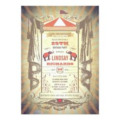 #party - #Circus or Vintage Carnival Birthday Party Card