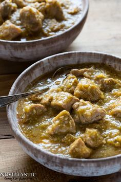 Easy Paleo Chile Verde recipe with roasted tomatillos garlic onion and tender pieces of pork that melt in your mouth! it's Gluten Free and Whole30 too.