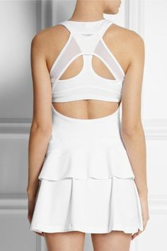 ADIDAS BY STELLA MCCARTNEY Stretch-jersey tennis dress, sports bra and shorts Tennis Wear, Le Tennis, Tennis Dress, Tennis Fashion, Sport Fashion, Fitness Fashion, Tennis Skirts, Tennis Clothes, Stella Mccartney Adidas