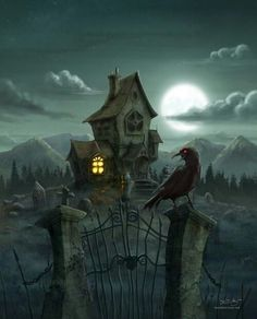 Halloween Haunted House Art