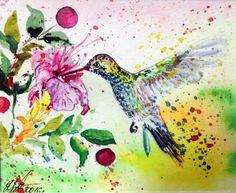 HUMMING BIRD Original Watercolor painting Сolibri by ElenTsArt