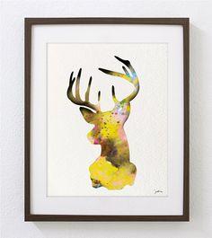 Deer Art Watercolor Painting - 8x10 Archival Print - Colorful Art Deer Antler Stag Silhouette Home Decor Wall Art
