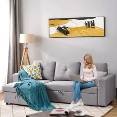 L-Shaped Sectional Storage Sofa Bed – Larpi Store