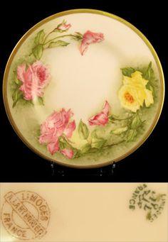 Limoges Rose Plate