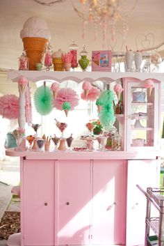 What a great display at an Ice Cream birthday party!  See more party ideas at CatchMyParty.com!