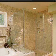 shimmery bathroom | shimmery bathroom tile. glass shower