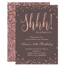 Rose Gold Confetti Birthday Party Invitation, perfect for surprise birthday party. Very glamorous, elegant, and modern with beautiful glitter. Surprise Birthday Invitations, Birthday Invitation Templates, Elegant Birthday Party, Birthday Celebration, Glitter Invitations, Gold Confetti, Rose Gold, 40th Birthday, Birthday Gifts