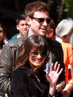 Lea and Cory arrive at the Staples Center Rachel And Finn, Lea And Cory, Real Life Love Stories, Love Story, Finn Hudson Glee, Glee Wedding, Glee Cory Monteith, Glee Fashion, Tv Show Couples