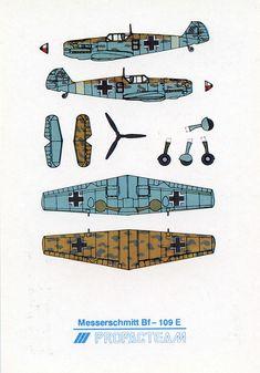Airplane, Military Cut out postcard, Messerschmitt E, Propacteam Paper Airplane Models, Airplane Art, Model Airplanes, Paper Planes, Origami, Paper Aircraft, Paper Art, Paper Crafts, Free Paper Models
