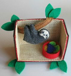 Sloth tree house playset - Rain forest stuffed animal with painted face bendable legs house and play food