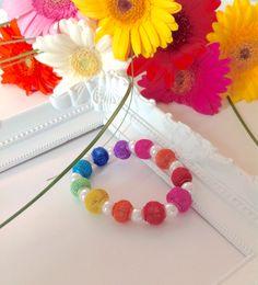 Beaded Bead Bracelet, Mesh Bead Bracelet, Rainbow Bead Bracelet, Colourful Bracelet, Bright Summer Colours, Jewelry by AwesomeBabiesShop on Etsy