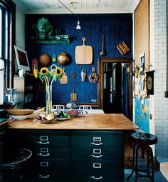 ⋴⍕ Boho Decor Bliss ⍕⋼ bright gypsy color hippie bohemian mixed pattern home decorating ideas - kitchen with dark blue walls