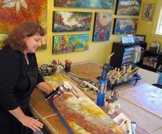 My encaustic studio in Portland, Oregon. www.lindawomack.com