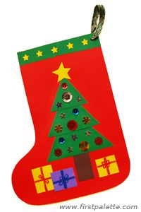 children church crafts made with construction paper | Paper Christmas Stocking Craft | Kids' Crafts | FirstPalette.com