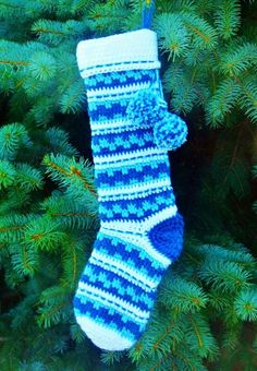 Crochet personalized Christmas stockings, Blue crochet Christmas Tree Stockings, Knitted Personalized Christmas socks for 2013