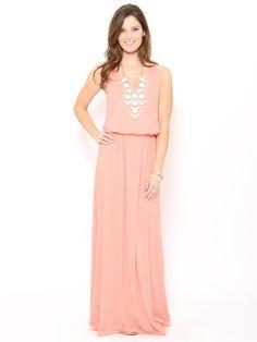 Cinch Waist Maxi #Dress in Peach  #stylesforless