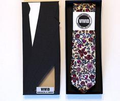 Floral Liberty Tie, Burgundy Neck Tie, Liberty of London by VIVIDClothingToronto
