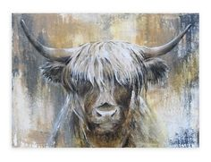 Highland Cow I van Atelier Paint-Ing op canvas, behang en meer Highland Cow Painting, Highland Cow Art, Highland Cow Canvas, Flow Painting, Oil Painting Abstract, Animal Paintings, Animal Drawings, Sunflower Canvas, Cow Pictures