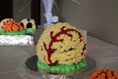 First birthday party! Sports theme. Baseball cake #baseball #firstbirthday #oneyearold #Babyboy #boysandbaseball #birthdaytheme #1yrsold #boy #firstbirthdaypartytheme #sports #sportstheme #baseballcake #cake #spherecake #ballcake