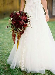 Bridal Bouquet Made Up Of Red Clematis, Burgundy Dahlias, Deep Red English Garden Roses, Aubergine Calla Lilies, Cranberry Amaranthus, & White Andromeda××××××××××××××××