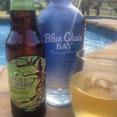 New summer drink.... Angry coconut!!!  1 shot of blue chair bay coconut rum 1 angry orchard green apple beer YUM