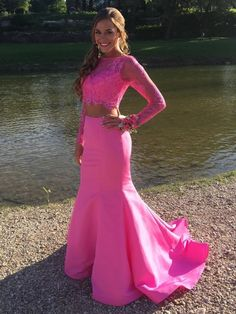f81db6ce539 Sweet Trumpet Mermaid Scoop Neck Lace Satin with Beading Court Train Two  Piece Long Sleeve Prom Dresses