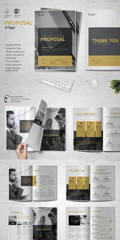 Project Proposal Impress your potential clients with this Business Proposal. With an organized, modern look this project proposal helps you to save time and to Free Proposal Template, Business Proposal Template, Print Layout, Layout Design, Design Design, Brochure Design, Brochure Template, Brochure Ideas, Booklet Design