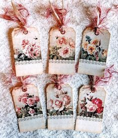 Set of 6 Hang Tags~Vintage Lace & Roses ~Gift Tags~Scrapbook's~Card Making~ Diy Arts And Crafts, Creative Crafts, Handmade Journals, Vintage Journals, Card Tags, Gift Tags, Scrapbook Cards, Scrapbooking Ideas, Plastic Bottle Art