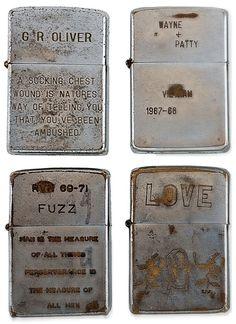 soldiers engraved zippo lighters from the vietnam war 5 Zippos from Vietnam