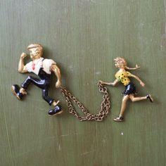 1950's Li'l Abner Novelty Sweater Clip Duet Pins
