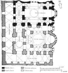 Constantinople, Plan du monastère de Constantin Lips (actuelle Fenari Isa Camii), Xe (église nord) et XIIIe siècle (église sud) (empire Paléologue).