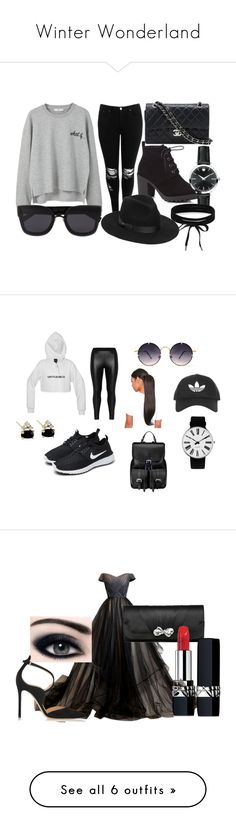 """""""Winter Wonderland"""" by zoya-athar on Polyvore featuring MANGO, Boohoo, Red Herring, Chanel, Lack of Color, Movado, Trendy, BlackAndGrey, polyvorefashion and Zizzi"""