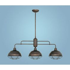 $229 Neo Industrial Rubbed Bronze Three Light Island Pendant Millennium Lighting Island Pendant