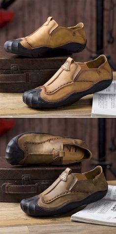 Men Leather Hand Stitching Slip On Soft Outdoor Casual Shoes Me Too Shoes, Men's Shoes, Shoe Boots, Converse Shoes, Shoes Men, Platform Shoes, Adidas Shoes, Black Shoes, Shoes Sneakers