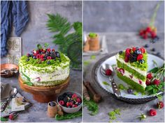 "Delicious Place: Tort ""Leśny mech"" / ""Forest moss"" cake Moss Cake, Acai Bowl, Delish, Cheesecake, Dishes, Breakfast, Desserts, Food, Birthday"