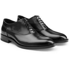 Jil Sander Leather Lace-Up Shoes ($845) ❤ liked on Polyvore featuring men's fashion, men's shoes and black