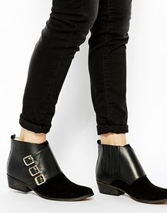 Enlarge Ganni Asya Texas Buckle Flat Ankle Boots