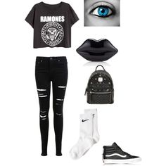 School✌️ by fivesaucescondiment on Polyvore featuring polyvore, fashion, style, Miss Selfridge, NIKE, Vans, MCM and Lulu Guinness