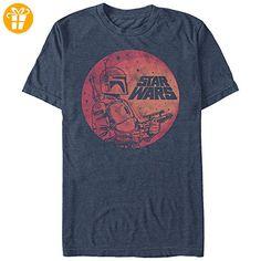 Offiziell Lizensiert Männer Star Wars Boba Fett Mond T Shirt Blau meliert Mittel – Brust 38-40 Zoll (96.5-101.5 cm) Meliert Blau - T-Shirts mit Spruch | Lustige und coole T-Shirts | Funny T-Shirts (*Partner-Link)